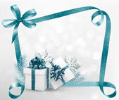 Holiday background with gift ribbon with gift box Vector — Stock vektor