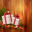 Vector de stock : Holiday background with gift ribbon with gift box Vector