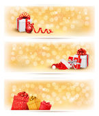 Set of holiday christmas banners with gift boxes and ribbon. Vec — Stock Vector