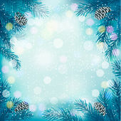 Blue Christmas background with tree branches and snowflakes. Vec — Vector de stock