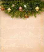 Christmas decoration on old paper background. Vector. — ストックベクタ