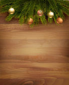 Christmas decoration on wooden background. Vector. — ストックベクタ