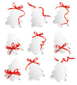 Set of beautiful gift cards with red gift bows with ribbons Vect — Vettoriale Stock
