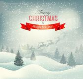 Christmas winter landscape background with santa sleigh. Vector. — Stock Vector