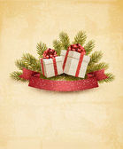 Holiday background with ribbon and red gift boxes. Vector. — Stock Vector