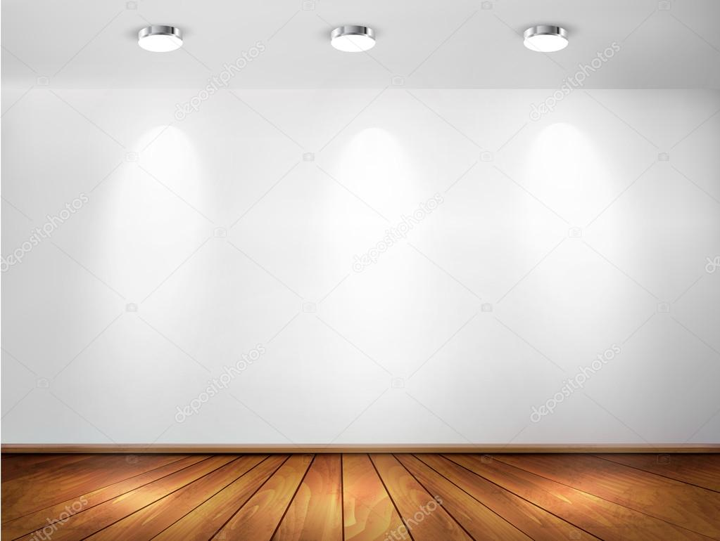 Wall With Spotlights And Wooden Floor Showroom Concept