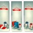 Christmas winter banners with presents. Vector. — 图库矢量图片