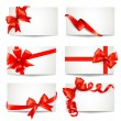Set of beautiful gift cards with red gift bows with ribbons Vect — Stock Vector #36727289