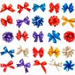 Big set of colorful gift bows with ribbons. Vector. — Vector de stock