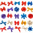 Big set of colorful gift bows with ribbons. Vector. — Vettoriale Stock