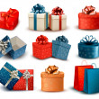 Set of colorful retro gift boxes with bows and ribbons. Vector i — Vector de stock
