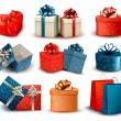 Set of colorful retro gift boxes with bows and ribbons. Vector i — Stock vektor
