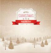 Christmas winter landscape background. Vector. — Stock Vector