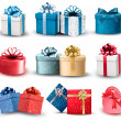 Set of colorful gift boxes with bows and ribbons. Vector illustr — Stockvektor
