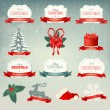Big collection of Christmas icons and design elements. Vector il — Stock Vector
