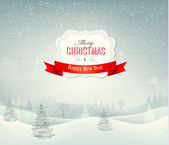 Holiday christmas background with winter landscape. Vector. — Stock Vector