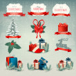 Big collection of Christmas icons and design elements. Vector il — Stock Vector #37476799