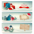 Stock Vector: Christmas winter banners with presents. Vector.