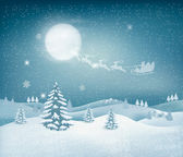 Holiday christmas background with winter landscape — Stock Vector