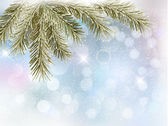 Christmas background with tree branches and snowflakes. Vector — Vector de stock