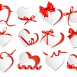 Set of beautiful gift cards with red gift bows and hearts. Valen — Vector de stock