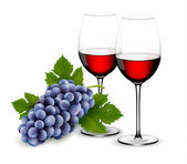Two glasses of red wine with grapes. Vector. — Stock Vector