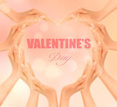 Retro holiday background with hands making a heart. Valentine's — Vettoriale Stock