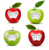 Set of apples with a weight scale. Diet concept. Vector. — Stock Vector