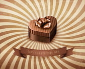 Heart-shaped gift box on retro background. Vector. — Cтоковый вектор