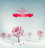 Retro tło wakacje. Walentynki drzew z kształcie serca leav — Wektor stockowy