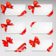 Stock Vector: Collection of gift cards with red ribbons. Vector background