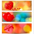 Set of beautiful valentine gift cards with red gift bows with ri — Stock vektor