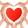 Heart of hands holding a red heart. Vector. — Stock Vector