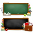 Back to school.Two banners with school supplies. Vector. — Stock Vector