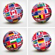 Flags of the world in globe. Vector illustration. — Stock Vector #39733193