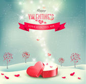 Valentine day background with an open red gift box. Vector. — Stock Vector