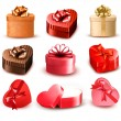 Set of colorful gift heart-shaped boxes with bows and ribbons. V — Stock Vector