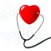 Background with stethoscope against a heart. Vector. — Stock Vector