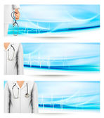 Medical banners with a doctor's lab white coat and stethoscope. — Stock Vector