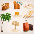 Set of vacation related icons. Vector. — Stock Vector