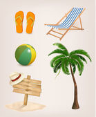 Set of vacation related icons. Vector.  — 图库矢量图片