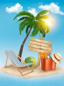 Travel background with tropical island. Summer vacation concept  — Stock Vector