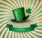 Saint Patrick's Day card with clove leaf and green hat. Vector i — Stock Vector