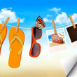 Stock Vector: Flip flops, sunglasses and photo cards hanging on rope. Summer
