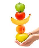 Ręce, trzymając piramidę zdrowego owocu. pojęcie diety. wektor. — Wektor stockowy