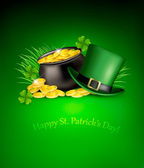 Saint Patrick's Day background with clover leaves, green hat and — Stock Vector