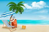 Beach with palm trees and beach chair. Summer vacation concept b — ストックベクタ