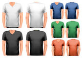 Black and white and color men t-shirts. Design template. Vector. — Stock Vector