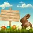 Chocolate bunny with easter eggs and a sign in a field. Vector. — Stock Vector #42884487