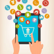 E-shopping concept. Hands touching a tablet with shopping icons. — Stock Vector #42884535